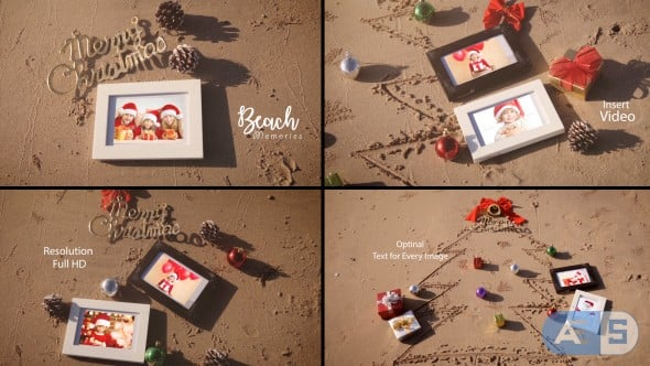 Videohive – Christmas Photo Frame On Thee Beach – 20891537