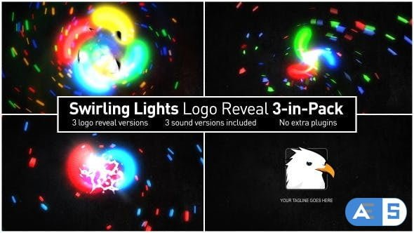 Videohive – Swirling Lights Logo Reveal 3-in-Pack – 6813791