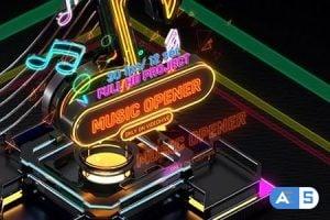 Videohive – Music Opener Neon Style/ Music Award/ Old Music Boombox/ Radio Show/ Speakers and Bass 20822838