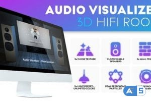 Videohive – Audio Visualizer 3D Music Room – 24003942