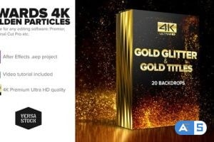 Videohive Awards 4K Golden Glitter Particles Titles 24982436