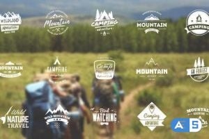 Videohive Mountain Travel And Campfire Badges 10645447