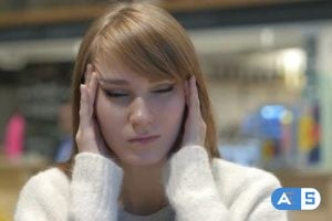 Videohive Tense Young Woman with Headache, Frustrated Life 21614243