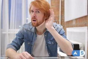 Videohive Redhead Beard Man Listening Secret, Indoor 21618902