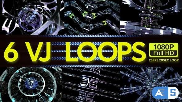 Videohive Cyber Machines VJ Loops 6 In 1 23138214