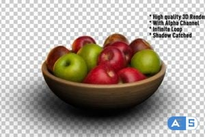 Videohive Apples In Bowl Rotating Fruits Rotate 24341115