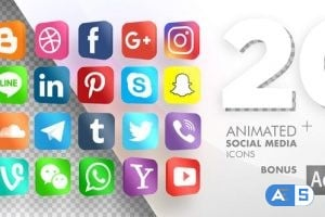 Videohive 20 Animated Social Media Icons 20724073