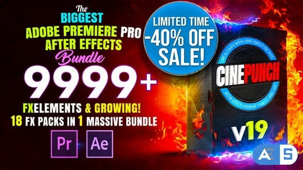 Videohive CINEPUNCH – Transitions I Color LUTs I Pro Sound FX I 9999+ VFX Elements Bundle V18 20601772
