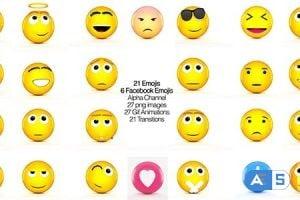 Videohive Facebook Emojis And 3D Animated set of Emojis 20437993