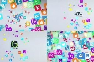 Videohive Social Media Flying Icons Logo Reveal 20672963