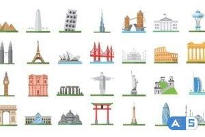 Videohive 100 World Landmarks Icons 26139491