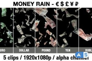 Videohive Money Rain – Euro, Dollar, Pound, Ruble, Yen 19451146