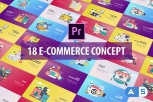 Videohive E-Commerce Concept – Flat Animation (MOGRT) 26282386