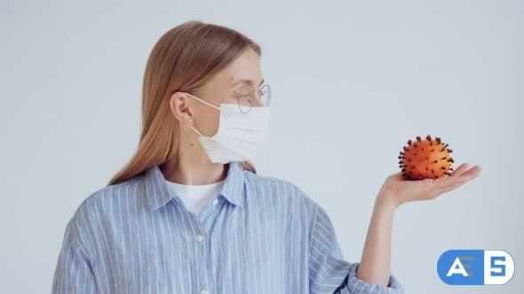 Videohive Attractive Female Doctor Hold Coronavirus Joke 26147314