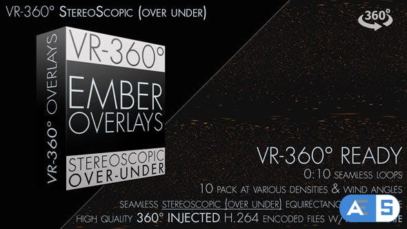 Videohive Burning Ember Overlay VR-360° Editors Pack (StereoScopic 3D Over-Under) 19229651