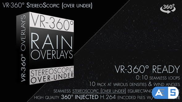 Videohive Rain Overlays VR-360° Editors Pack (StereoScopic 3D Over/Under) 19270770