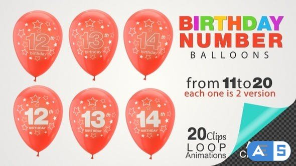 Videohive Birthday Celebrations – Balloons With Birthday Numbers 26734641