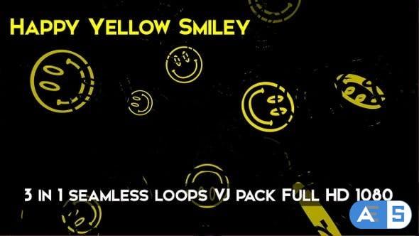 Videohive Happy Yellow Smiley VJ Loops 26752899