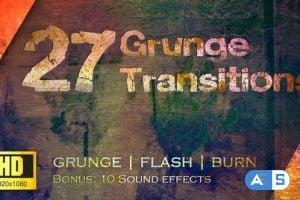 Videohive Grunge Transitions – Pack of 27 – HD 22571683