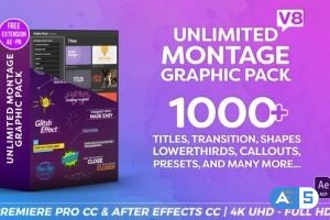 VIDEOHIVE MONTAGE GRAPHIC PACK / TITLES / TRANSITIONS / LOWER THIRDS AND MORE V8.3 23449895
