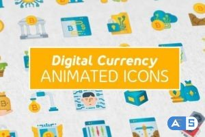 Videohive Digital Currency Modern Flat Animated Icons 26851058