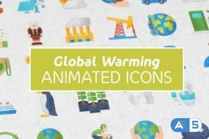 Videohive Global Warming Modern Flat Animated Icons 26850970
