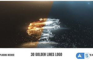 Videohive 3D Golden Lines Logo 25910106