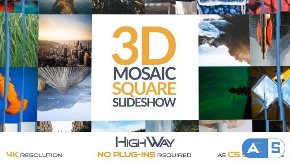 Videohive 3D Mosaic Square Slideshow 19412243