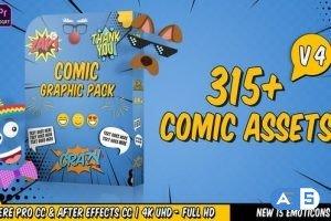 Videohive Comic Titles – Speech Bubbles – Emoji – Stickers – Flash FX Graphic Pack V4- 22645319