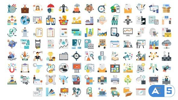 Videohive 100 Business and Startup Icons 28281466