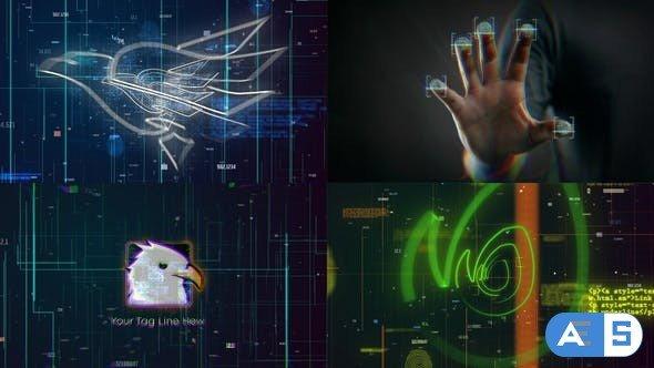 Videohive Scan Fingerprint Biometrics Logo Reveal 27184261