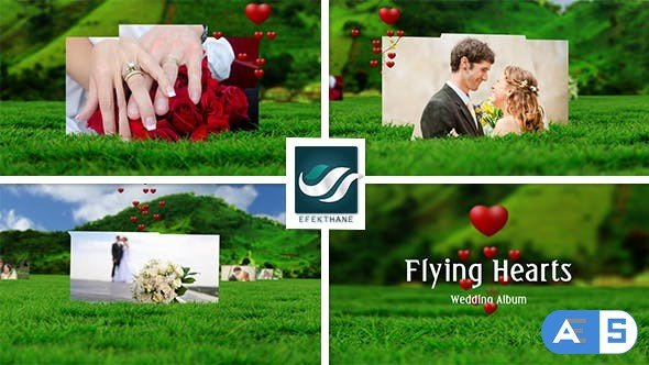 Videohive Flying Hearts Wedding Album 6623915