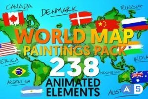 Videohive World Map Paintings Pack 12070408
