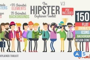 Videohive Hipster Explainer Toolkit & Flat Animated Icons Library V3 10981763