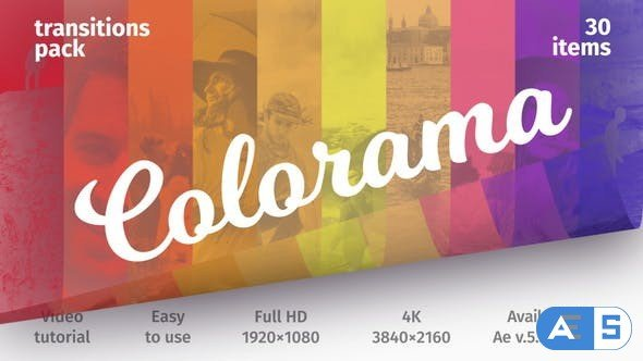 Videohive Colorful Transitions – Transitions Pack 21382230
