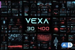 Videohive Vexa HUD Infographics Essential Graphics | Mogrt 23582404