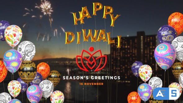 Videohive Happy Diwali Balloons Reveal 29198942