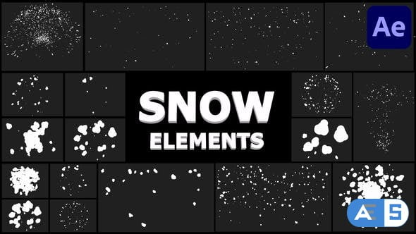 Videohive Cartoon Snowflakes Pack | After Effects 29733693