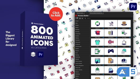 Videohive PremiumBuilder Animated Icons | Premiere Pro Extension 29634161