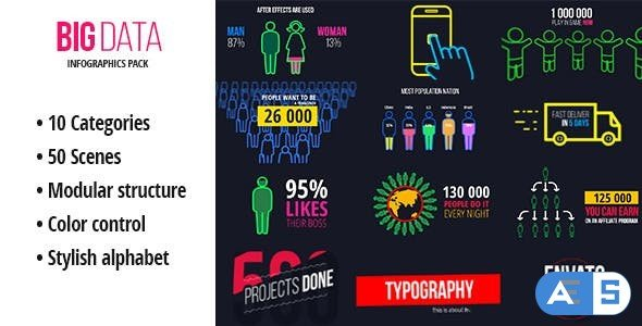 Videohive BigData – Ultimate Infographics Pack 13604124