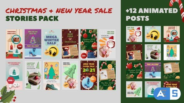 Videohive Christmas and New Year Sale Stories Pack 29606734