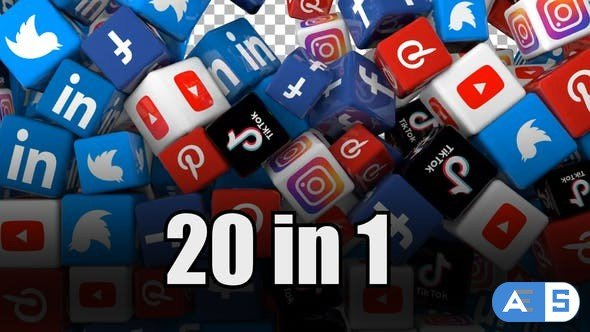 Videohive Social Media Icons Transition Pack (Pack of 20) 30973598