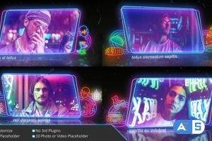 Videohive Neon Frame In The Rain Photo Slide 30262952
