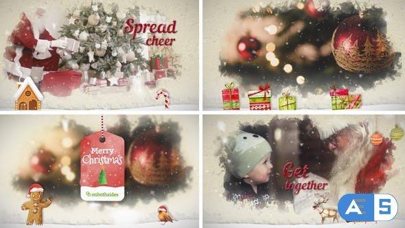 Videohive Christmas Watercolored Slideshow 25089421