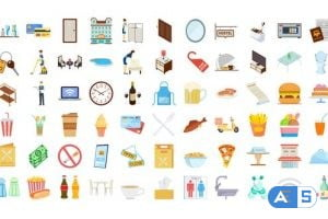 Videohive 100 Icons Pack – Hotel & Restaurant 32169968