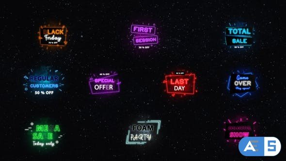 Videohive Neon Sale Titles | After Effects 32079757