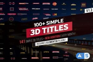 Videohive 100+ Simple 3D Titles V1.3 21991295