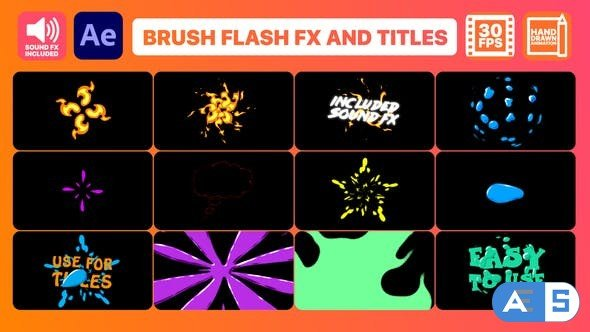 Videohive Brush Flash FX Pack And Titles | After Effects 32899607