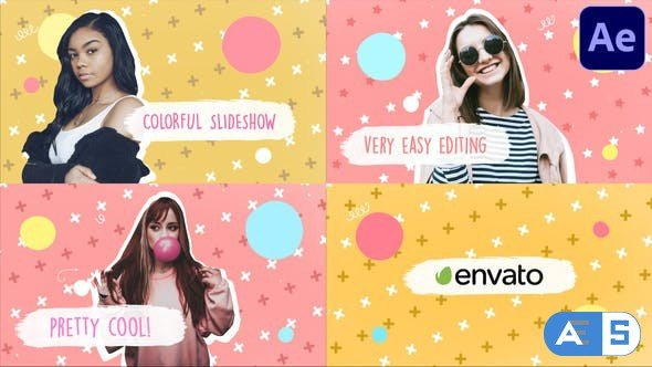 Videohive Colorful Brush Slideshow | After Effects 33078603
