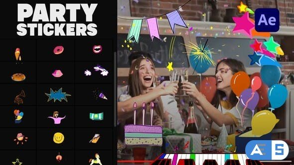 Videohive Animated Party Stickers | After Effects 33398614
